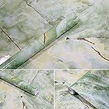 APSOONSELL Granit Marmor Effekt Tapete Selbstklebende Peel Stick Rolling Sticker Wand Aufkleber für Küche Badezimmer Tisch Hintergrund Dekoration,Shell Green(15.7