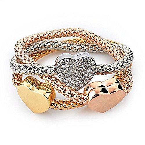 Minetom Donne Ragazze Moda Bracciali Gioielli Braccialetti Oro Argento Oro Rosa Placcato Braccialetto Metallo Catena 3Pcs Un Set Style 3