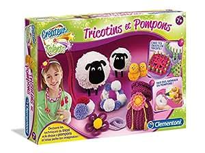 Clementoni - 52115-Tricotins et pompons-Jeu créatif