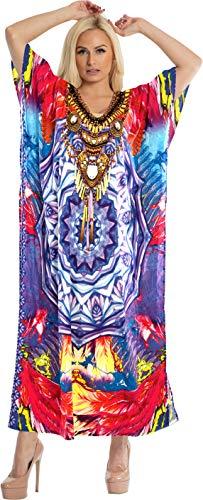 LA LEELA Damen überdimensional Maxi 3D HD Gedruckt Kimono Kaftan Tunika Kaftan Damen Top Freie Größe Loungewear Urlaub Nachtwäsche Strand jeden Tag Kleider Mehrfarbig_R642 - Kaftan Tunika Top