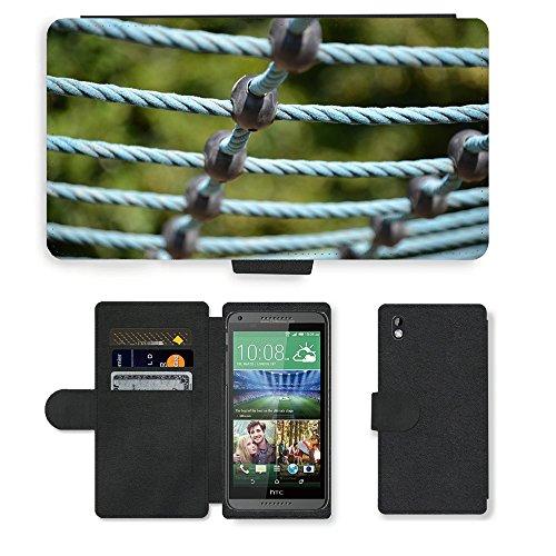 PU Leder Wallet Case Folio Schutzhülle // M00290394 Spielplatz Turngeräte // HTC DESIRE 816