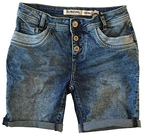 STS 15 Farben Damen Jeans Bermuda Short by Boyfriend Look tiefer Schritt Jeansbermuda mit Kontrastnähten washed (40, destroyed blue)