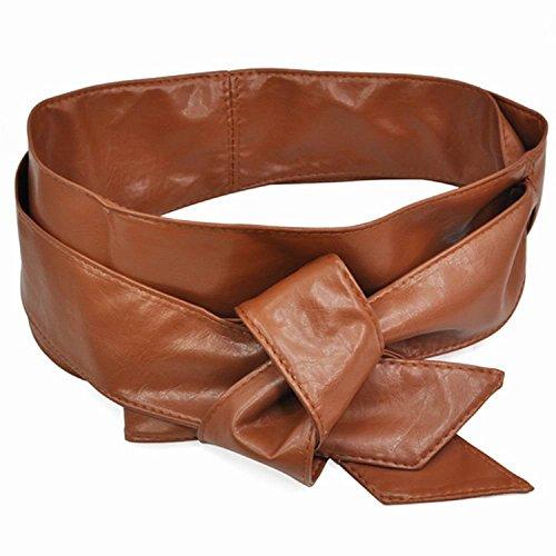 DPROMOT PU Leather Womens Wrap around Tie Corset Cinch Waist Wide Belt Band