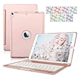 iPad 9.7 2017/2018 Tastiera Custodia, Alluminio Dingrich Custodia Bluetooth Wireless 7 LED Colore retroilluminazione per Apple iPad