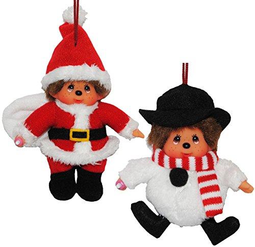 2 tlg. Set Anhänger / Schlüsselanhänger Monchhichi als Weihnachtsmann + Schneemann Monchichi Santa (Kostüm Monchichi)