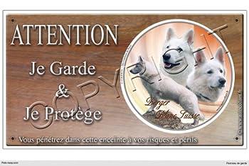 Panneau chien ou plaque Berger-Blanc-Suisse-Poil-Long 30 cm