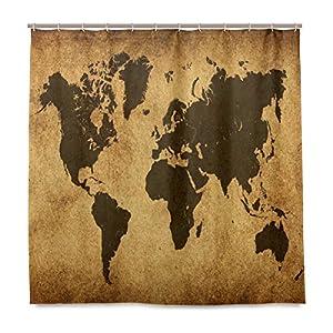 ISAOA – Cortina de ducha con diseño de mapa del mundo para baño, impresión digital, resistente al agua y al moho, con 12 ganchos, 180 x 180 cm