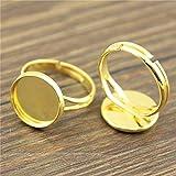 NEWME 20 pezzi Y-tipo Regolabile Impostazione dell'anello In forma 16mm Round cabochon in vetro con retro piatto Ottone impostazione di base vuota Risultati e componenti dei gioielli da uomo H486