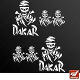 Tabla 6 pegatinas autoadhesivas DAKAR-PIRATE-Adhesivo blanco, Moto, bicicleta, kit, deco, tuning, decal, GT-DESIGN
