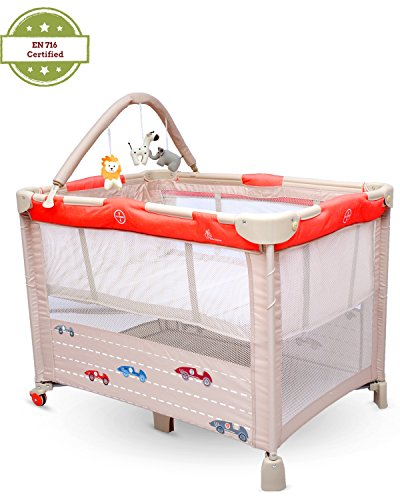 R for Rabbit Hide and Seek- Smart Folding Baby Bed Cum Cot (Red Beige)