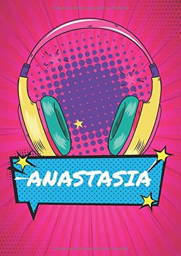 Anastasia: Retro 90er Comic Pop Art Notizbuch personalisiert - Frauen Name Anastasia - Blanko DIN A4 dotted - Großes Notizbuch mit Register und ... für Freundin Geburtstag und Weihnachten.
