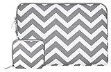 MOSISO Chevron Stil Canvas Gewebe Hülle Laptop Sleeve Tasche Beutel für 13-13.3 Zoll MacBook Pro, MacBook Air, Notebook Computer mit einem kleinen Fall, Grau