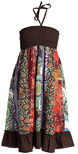 ufash Patchwork Sommerkleid mit elastischem Bund, auch als Maxirock verwendbar - Goa Gipsy Hippie-Rock, Braun 2