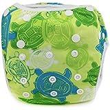 Sijueam Couche de bain bébé Lavable ajustable Maillot pour Piscine Natation Unisexe Imperméable Culotte Anti-fuite 0-18 mois / 10-18 kg Tortue Verte