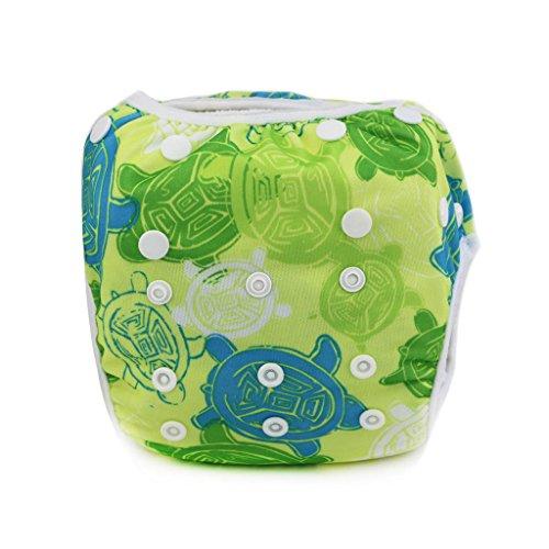 Sijueam wasserdichte, wiederverwendbare Schwimm-Windel / Shorts, Einheitsgröße, für Babys und Kleinkinder, auslaufsicher, atmungsaktiv, Maschenware / Bademode für Wassersport Einheitsgröße Green Tortoise