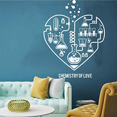 YANGSHUANG Wandaufkleber Große Chemie Wissenschaft abstrakt Herz Wandtattoo Labor Klassenzimmer Geek Chemie Wissenschaft Valentine Wandaufkleber Kinderzimmer 74x56cm (Valentine Klassenzimmer Dekorationen)