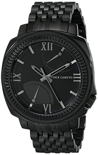 vince-camuto-the-veteran-unisex-quartz-watch-with-black-dial-analogue-display-and-black-stainless-st