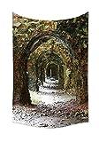 Rústico Decoración del hogar Tapestry ruinas de arco Medieval período ladrillo túnel arquitectura patrimonio diseño colgante de pared para dormitorio sala de estar dormitorio gris rojo