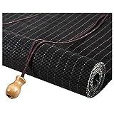 ZEMIN Bambus Rollo Abgeschnitten Bambusrollo Entwurmung Vorhang Anpassbar Heben, Innen/Außen Installieren 3 Farben, 24 Größen Wahlweise (Farbe : SCHWARZ, größe : 140x225cm)