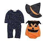 NAttnJf Mameluco de bebé recién nacido + mono de manga larga + conjunto de conjunto de disfraces de Halloween Negro + naranja 70