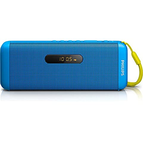 Philips altavoz portátil inalámbrico - Altavoces portátiles (60 - 20000 Hz, Inalámbrico y alámbrico, Bluetooth/3.5 mm, Bluetooth, Rectángulo, Azul)