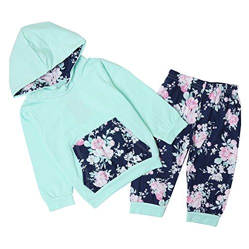 Chicolife Baby Mädchen 2pcs Set Outfits Floral Pullover Hoodies Top mit Tasche Blume lange Hosen Leggings grün (Floral Grün Leggings)