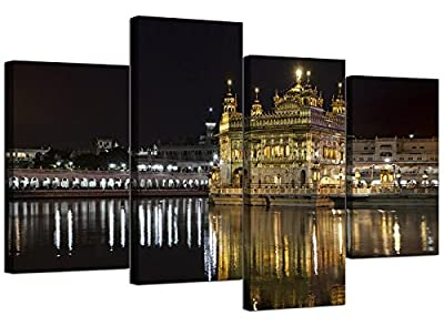 Sikh Canvas Wall Art of the Golden Temple at Amritsar for your Living Room - Four Panel Indian Wide Canvas Prints - 4195 - Wallfillers®