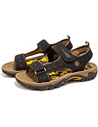 GLTER Open Toe Men Sandales de plage Hommes Chaussures en cuir Slingback Summer Respirant Chaussures de plage décontractées Outdoor Waterproof Sneakers