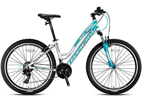 KRON XC-100 Hardtail Aluminium Damen Mountainbike 26 Zoll | 21 Gang Shimano Kettenschaltung mit V-Bremse | 17 Zoll Rahmen Damenfahrrad MTB Erwachsenen- und Jugendfahrrad | Silber & Türkis -