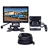 Podofo Car Backup Camera Waterproof 18 IR LED Night Vision Reverse Camera + 7' TFT Rear View Monitor Vehicle Parking System for RV / Bus / Trailer / Truck (65ft 4-Pin Aviation Video Cable)