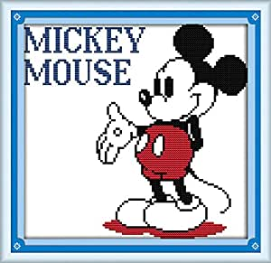 Benway Kit de broderie au point de croix Motif Mickey Mouse 11 points 34 x 33 cm