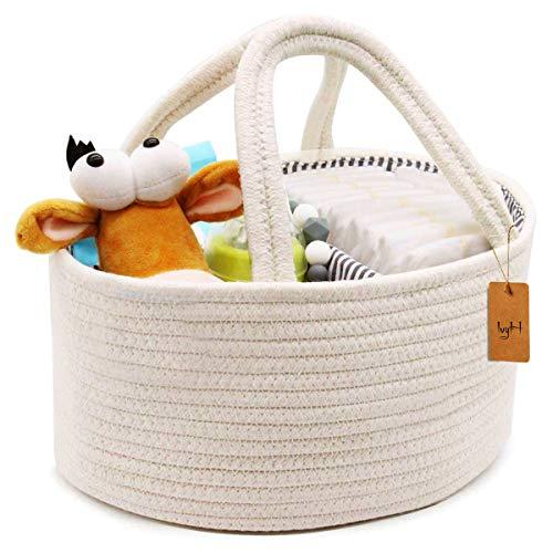 IvyH Baby Windel Caddy Organizer mit abnehmbaren Griffen und austauschbaren Fächern für Windeln, Babyhandtücher, Kinderspielzeug (39x25x18 cm)