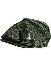 Mens Herringbone Baker Boy Cap Peaked Newsboy Hat Gatsby Flat Cap Button Top Hat