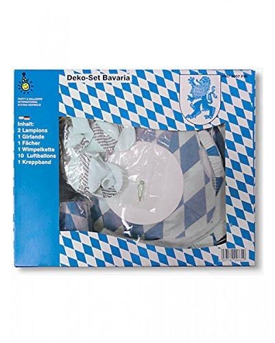 Horror-Shop Bayerisches Rauten Deko Set Bayern 16-teilig aus Papier/Latex (Kostüm Biergarten)