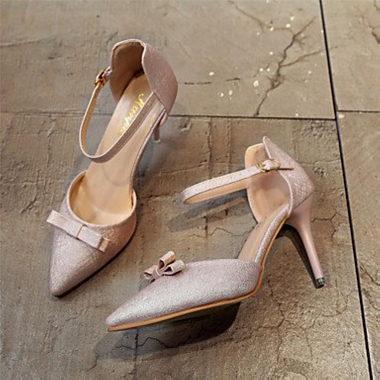Zormey Frauen Heels Ankle Strap Leder Hochzeit Büro & Amp; Karriere Party & Amp; Abendkleid Stiletto Heel Bowknotö