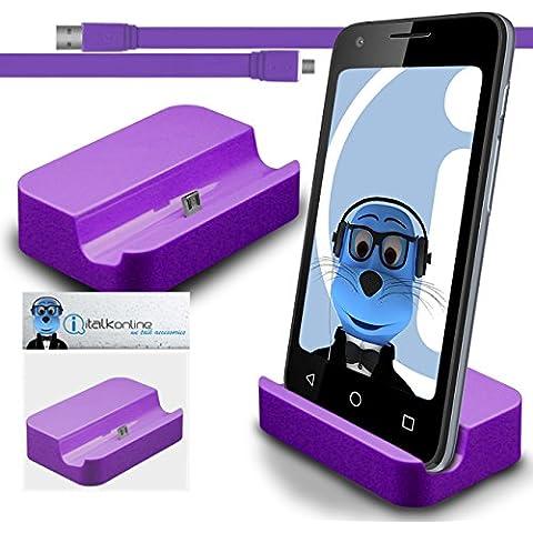 iTALKonline BlackBerry Classic Q20 2015 Porpora Micro USB Sync & Charge / ricarica Desktop Dock stand di ricarica con 1,2 metro USB di alta qualità FLAT a Micro USB di Sincronizzazione e Ricarica