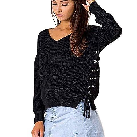 FriendG Women Solid Color V-neck Knited Long Sleeve Sweater Bandage Ultra Loose Elastic Pullover (XL,