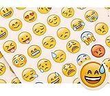 SparkTime Autocollants Emoji [Lot de 240] Stickers Émoticônes pour Loisirs créatifs - Idéal pour Un Cadeau avec Une Pochette en Kraft fournie !