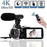 """Videocámara 4K Vlogging Cámara 30MP WiFi Cámara de Vídeo Videocamara Digital con Pantalla Táctil de 3.0""""para Youtube Cámara de Visión Nocturna Videocámara con Micrófono Externo"""