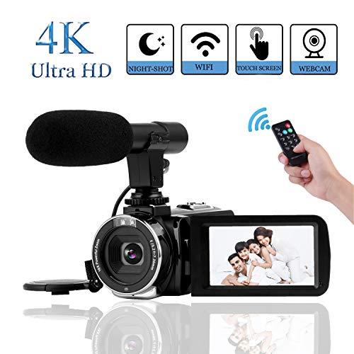 "4K Camcorder Videokamera Vlogging Kamera 30MP WiFi Steuerung 3,0 "" Touchscreen Digitalvideokamera für YouTube Nachtsicht Camcorder Videokamera mit externem Mikrofon"