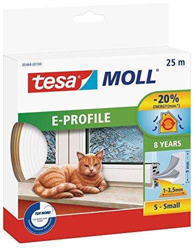 tesa 05393–00110–00Gummidichtung für Türen und Fenster, Profil D, weiß