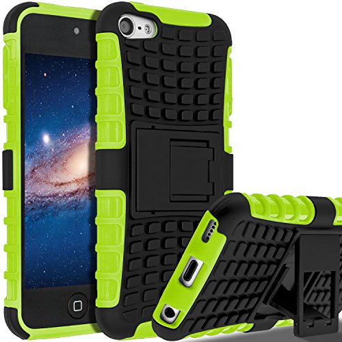 iPod Touch 6 Fall, iPod Touch 5 Fall, slmy (TM) Heavy Duty Dual Layer stoßfest/Impact Widerstand Hybrid Rugged Cover Schutzhülle mit integriertem Ständer für Apple iPod Touch 5 6. Generation (Otter Box Fällen I Pod 5)