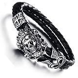 N·XHXL Bracelet De Crâne pour Hommes, Bijoux De Mode Gothique Biker Bracelet Wrap...