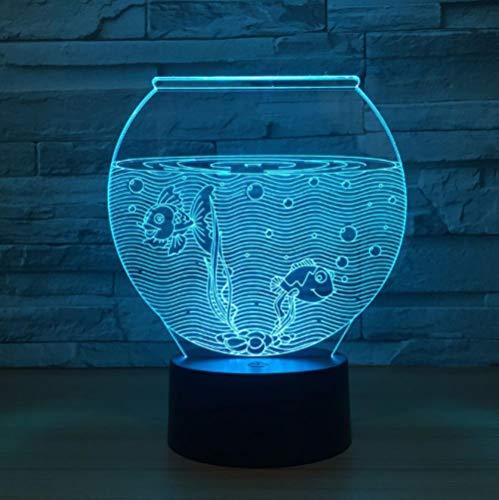 Nachtlicht 3d, nacht lampe led, schlaf licht, aquarium tischlampe touch 7 farben ändern illusion usb schlafzimmer dekor für mädchen und jungen geburtstag weihnachten halloween beste geschenke