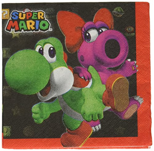 Super Mario 16 Stk Cocktail Servietten - Napkins 16 (Mario Supplies Super Party Bros)
