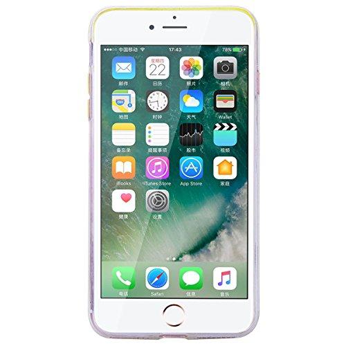 GrandEver iPhone 7 Plus Hülle Weiche Silikon Handyhülle TPU Bumper Schutzhülle für iPhone 7 Plus Rückschale Klar Handytasche mit Regenbogen Muster Anti-Kratzer Stoßdämpfung Ultra Slim Rückseite Silico Color D