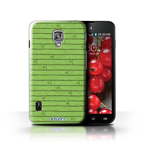Kobalt® Imprimé Etui / Coque pour LG Optimus L7 II Dual / Beige conception / Série Motif Bois Vert