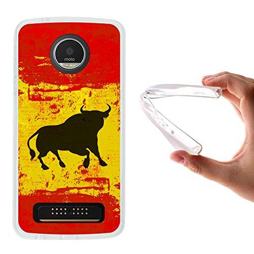 WoowCase Funda Motorola Moto Z Play, [Motorola Moto Z Play ] Funda Silicona Gel Flexible Bandera España y Toro, Carcasa Case TPU Silicona - Transparente