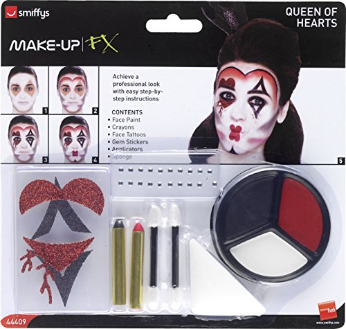 Authentische Kostüm Hexe - Smiffy's 44409 - Königin der Herzen Make-Up Kit mit Gesichtsfarben Gesicht Tattoo Gem Aufkleber Crayon und Applikatoren