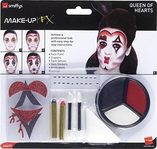 Smiffy's 44409 - Königin der Herzen Make-Up Kit mit Gesichtsfarben Gesicht Tattoo Gem Aufkleber Crayon und Applikatoren